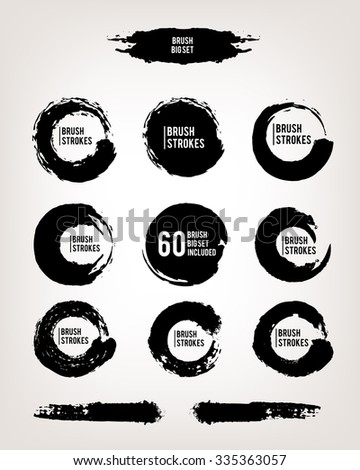 Vector large set hand drawn illustration. 60 brushes inside the file. Ink brush grunge strokes and shapes backgrounds set for text. elements, template for backgrounds or card design  - stock vector