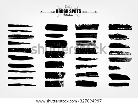 Vector large set hand drawn illustration. Ink brush grunge strokes backgrounds set for text. elements, template for backgrounds or card design  - stock vector