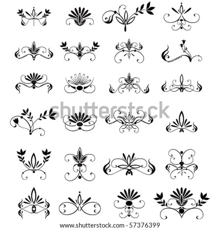 Vector large set of floral design elements - stock vector