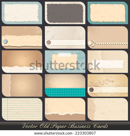 Vector large set of highly detailed, old paper, vintage business card illustrations - stock vector
