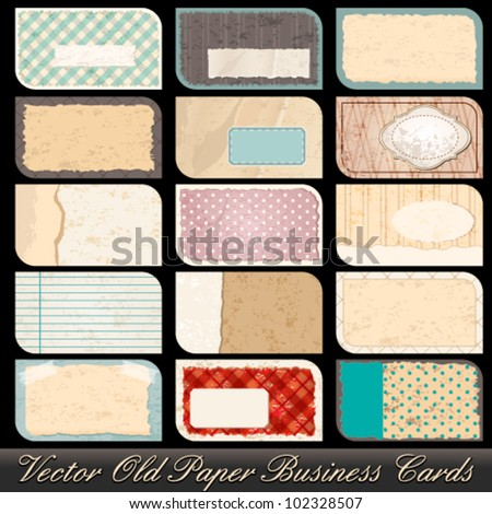 Vector large set of highly detailed, old, vintage business card illustrations - stock vector