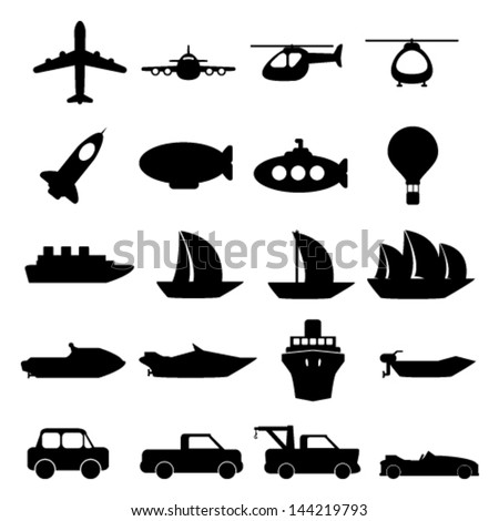 Vector large set of modern transportation icons illustration - stock vector