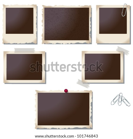 Vector large set of old, vintage photo frame illustrations - stock vector