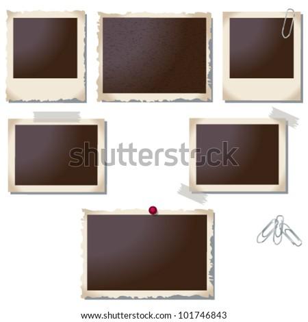 Vector large set of old, vintage photo frame illustrations - stock vector