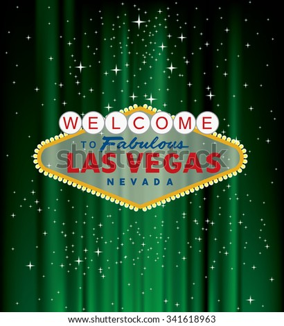 vector Las Vegas sign on green velvet with stars - stock vector