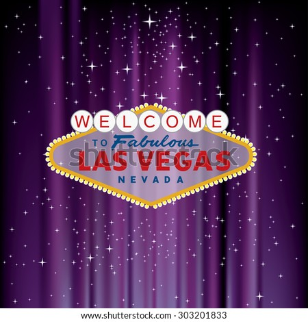 vector Las Vegas sign on purple velvet with stars - stock vector