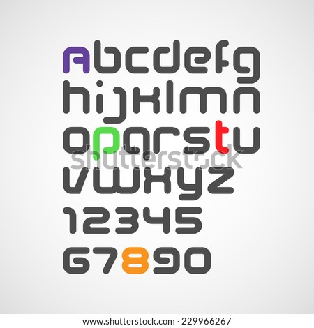 vector latin alphabet letters and numbers with rounded corners - stock vector