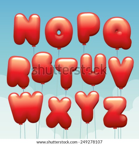 Vector latin alphabet made of flying balloons. Letters from N to Z - stock vector