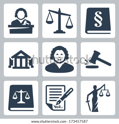 Vector law and justice icons set - stock vector