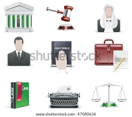 Vector law and order icon set. Part 1 - stock vector
