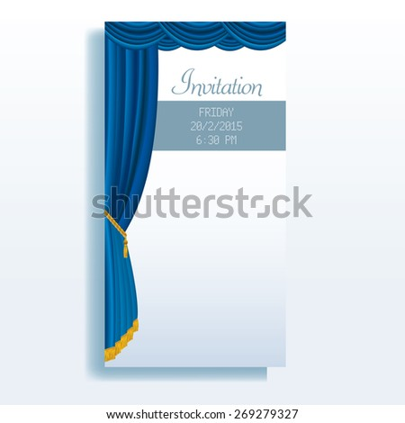 vector layout of invitation card with blue stage curtain - stock vector