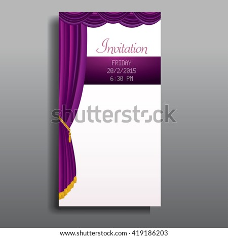 vector layout of invitation card with purple stage curtain - stock vector