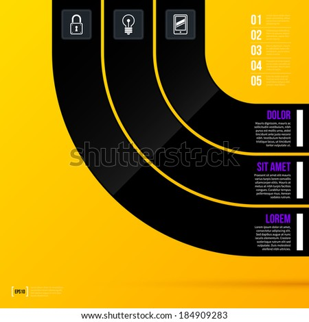 Vector layout template with three options on bright yellow background in modern corporate style. EPS10 - stock vector