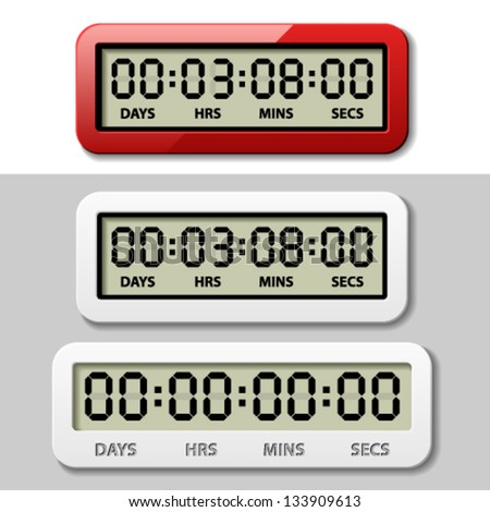 vector LCD counter - countdown timer - stock vector