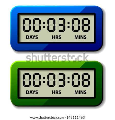 vector LCD counter - countdown timer - stock vector