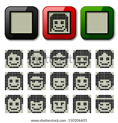 vector LCD display pixel faces - stock vector