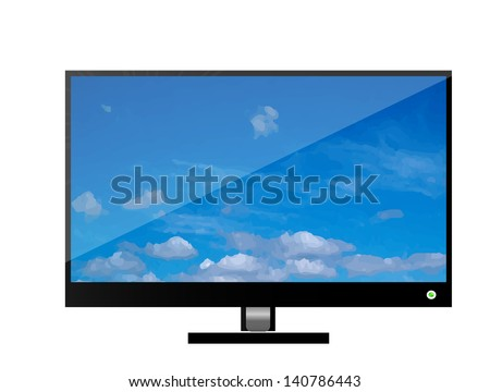 Vector lcd or plasma flat tv. Icon isolated over white background. Blue sky on the display with reflection. - stock vector