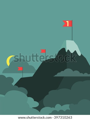 Vector leadership concept with mountain landscape of retro design. Business concept cartoon illustration. Vector - stock vector