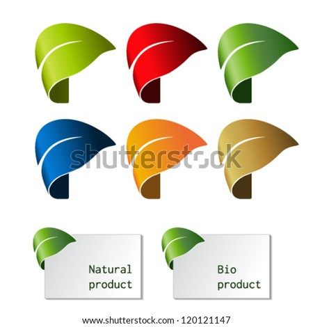 Vector leaf - bent tape, symbol for natural product - stock vector