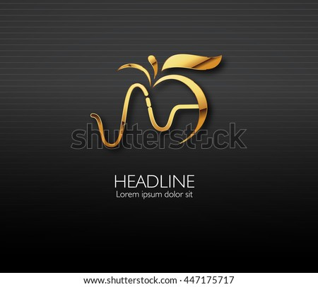 Vector leaf, golden apple and heartbeat medical monochromatic one. Abstract emblem, design concept, logo, logotype element for template.  - stock vector