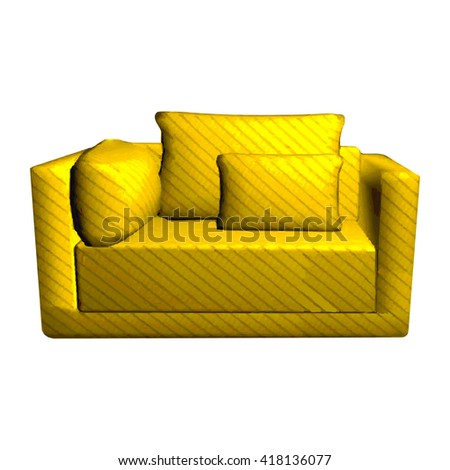 Vector leather yellow Sofa with pillows isolated on white background. 3d object golden armchair in room  - stock vector