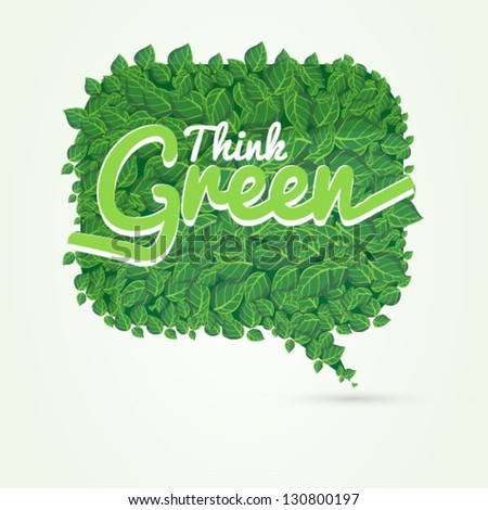 vector leaves speech bubble - stock vector