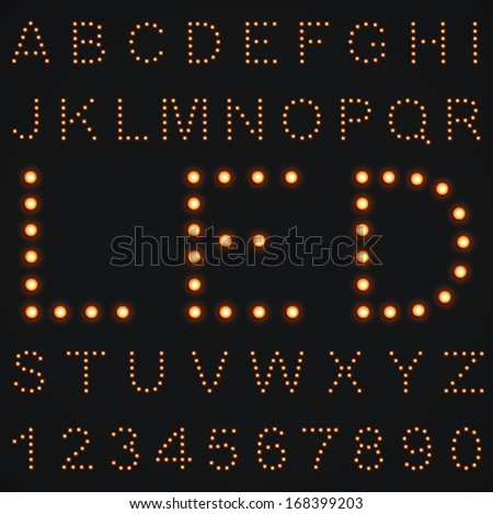 Vector LED Alphabet and Numbers - stock vector