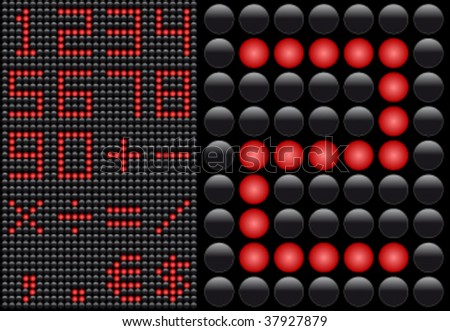 Vector LED - light emitting diode - info panel. Score board style letters. - stock vector