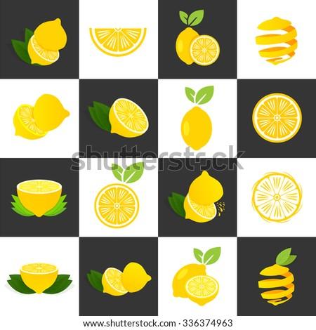 Vector lemon set on white and black background - stock vector