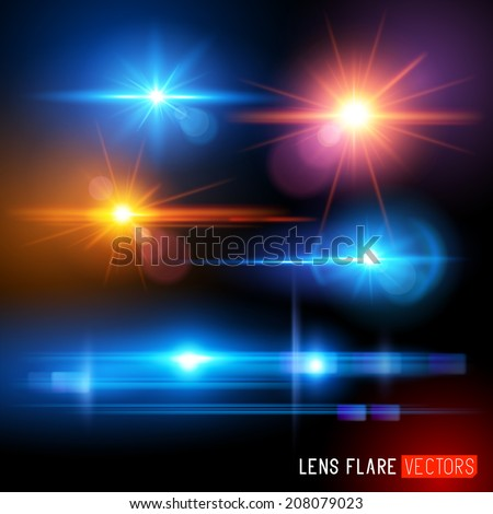 Vector Lens Flare Set - lens Light effects vector illustration. - stock vector