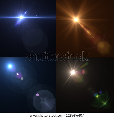Vector lens flares. Set, collection - stock vector