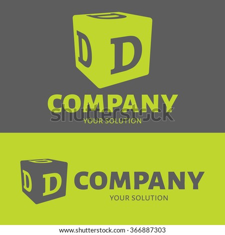 Vector letter D logo. Grey and green versions of the logo D. - stock vector