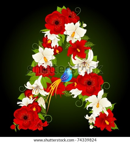 Vector letter for signs with flowers and bird - stock vector