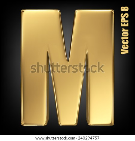 Vector letter M from gold solid alphabet. Uppercase golden font collection. EPS 8 - stock vector