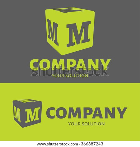 Vector letter M logo. Grey and green versions of the logo M. - stock vector