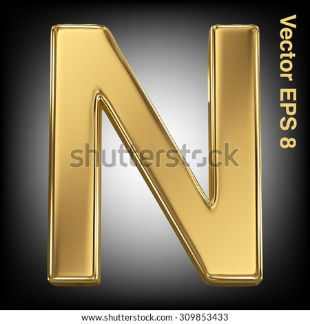 Vector letter N from gold solid alphabet. Eps 8 using mesh. - stock vector