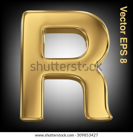 Vector letter R from gold solid alphabet. Eps 8 using mesh. - stock vector
