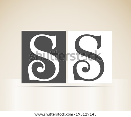 Vector letter S art deco alphabet retro sign vintage design - stock vector