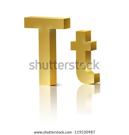 Vector letter T of golden design alphabet - stock vector