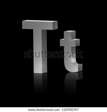 Vector letter T of metallic design alphabet - stock vector