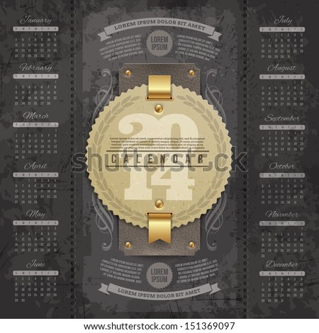 Vector lettering design template - Calendar of 2014 with vintage labels and grunge elements - stock vector