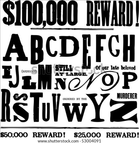 Vector letters and alphabet for creating ransom notes - stock vector