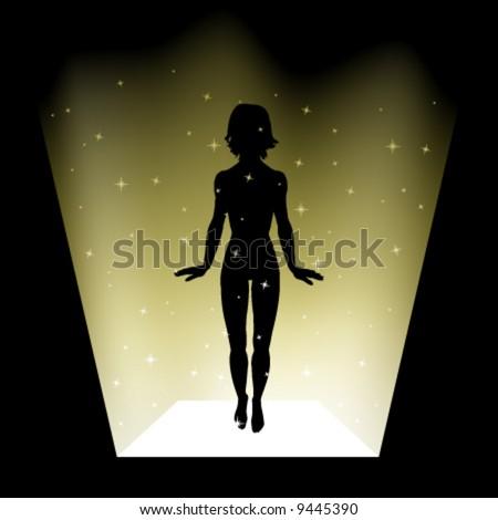 vector levitating girl - stock vector