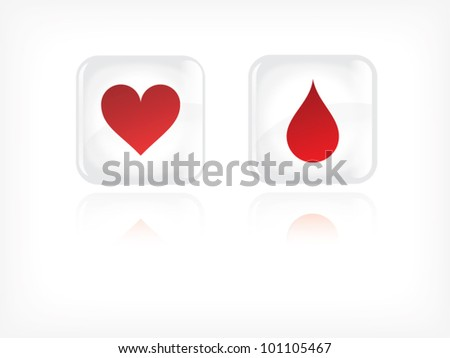 Vector - life theme buttons with hearth and blood drop illustration - stock vector