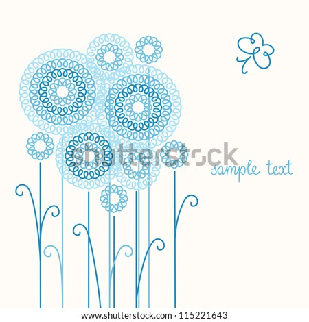 Vector light background with stylized flowers, leaves and butterfly of doodles. Invitation, greeting romantic card with text box. Abstract summery floral illustration in tints of blue for print, web - stock vector
