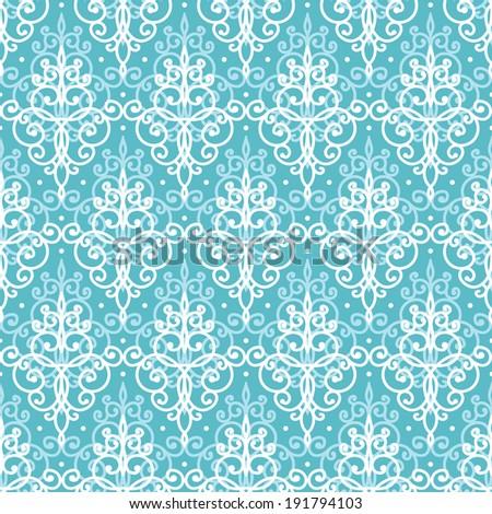 vector light blue swirls damask seamless pattern background - stock vector