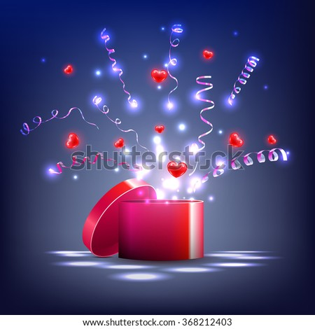 vector,  light box and red  hearts,  streamers, gift for the holiday. Hearts fly out of the box, the explosion of hearts and serpentine - stock vector