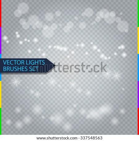 Vector light brushes for design. Bokeh effect, sparks, stars, blur. Isolated on transparent background - stock vector