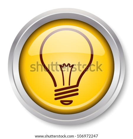 Vector Light Bulb Icon Glossy Metallic Button. EPS10. - stock vector