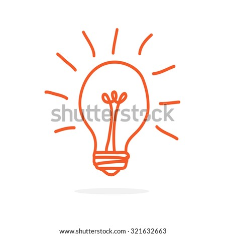 Vector light bulb icon hand drawn sign.  - stock vector
